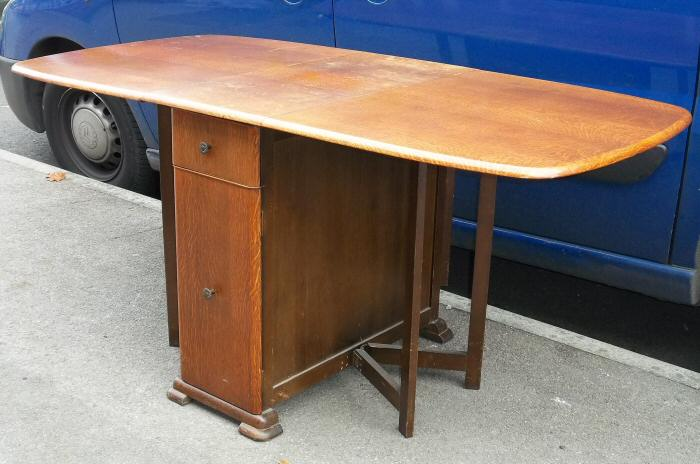 Art Deco Oak Drop Leaf Kitchen Dining Table With Drawers